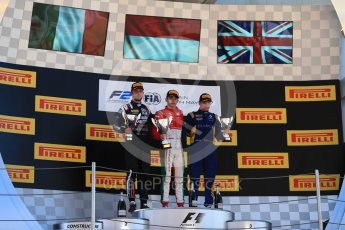 World © Octane Photographic Ltd. FIA Formula 2 (F2) - Race 1. Charles Leclerc – Prema Racing (1st), Luca Ghiotto – Russian Time (2nd) and Oliver Rowland – DAMS (3rd). Circuit de Barcelona - Catalunya, Spain. Friday 12th May 2017. Digital Ref:1819LB1D2515
