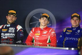 World © Octane Photographic Ltd. FIA Formula 2 (F2) - Race 1. Charles Leclerc – Prema Racing (1st), Luca Ghiotto – Russian Time (2nd) and Oliver Rowland – DAMS (3rd). Circuit de Barcelona - Catalunya, Spain. Friday 12th May 2017. Digital Ref:1819LB1D2547