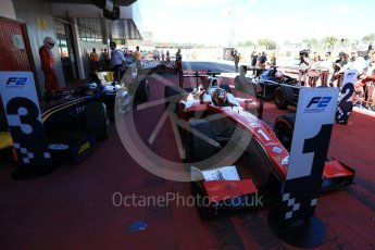 World © Octane Photographic Ltd. FIA Formula 2 (F2) - Race 1. Charles Leclerc – Prema Racing (1st), Luca Ghiotto – Russian Time (2nd) and Oliver Rowland – DAMS (3rd). Circuit de Barcelona - Catalunya, Spain. Friday 12th May 2017. Digital Ref:1819LB2D8541