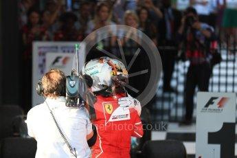 World © Octane Photographic Ltd. Formula 1 - Australian Grand Prix - Podium. Sebastian Vettel - Scuderia Ferrari SF70H. Albert Park Circuit. Sunday 26th March 2017. Digital Ref: 1803LB1D7052