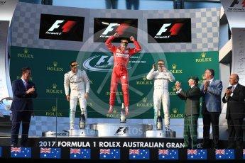 World © Octane Photographic Ltd. Formula 1 - Australian Grand Prix - Podium. Sebastian Vettel - Scuderia Ferrari SF70H, Lewis Hamilton and Valtteri Bottas - Mercedes AMG Petronas F1 W08 EQ Energy+. Albert Park Circuit. Sunday 26th March 2017. Digital Ref: 1803LB1D7338