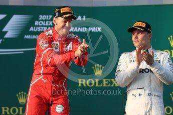 World © Octane Photographic Ltd. Formula 1 - Australian Grand Prix - Podium. Sebastian Vettel - Scuderia Ferrari SF70H. Albert Park Circuit. Sunday 26th March 2017. Digital Ref: 1803LB1D7359