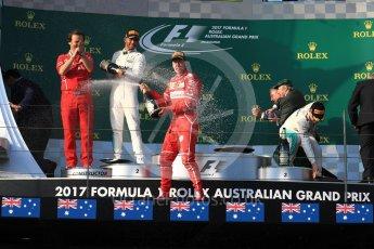 World © Octane Photographic Ltd. Formula 1 - Australian Grand Prix - Podium. Sebastian Vettel - Scuderia Ferrari SF70H, Lewis Hamilton and Valtteri Bottas - Mercedes AMG Petronas F1 W08 EQ Energy+. Albert Park Circuit. Sunday 26th March 2017. Digital Ref: 1803LB1D7631
