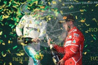 World © Octane Photographic Ltd. Formula 1 - Australian Grand Prix - Podium. Sebastian Vettel - Scuderia Ferrari SF70H. Albert Park Circuit. Sunday 26th March 2017. Digital Ref: 1803LB1D7672