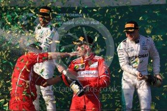 World © Octane Photographic Ltd. Formula 1 - Australian Grand Prix - Podium. Sebastian Vettel - Scuderia Ferrari SF70H, Lewis Hamilton and Valtteri Bottas - Mercedes AMG Petronas F1 W08 EQ Energy+. Albert Park Circuit. Sunday 26th March 2017. Digital Ref: 1803LB1D7701
