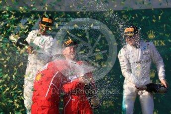 World © Octane Photographic Ltd. Formula 1 - Australian Grand Prix - Podium. Sebastian Vettel - Scuderia Ferrari SF70H, Lewis Hamilton and Valtteri Bottas - Mercedes AMG Petronas F1 W08 EQ Energy+. Albert Park Circuit. Sunday 26th March 2017. Digital Ref: 1803LB1D7707