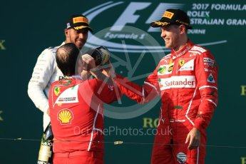 World © Octane Photographic Ltd. Formula 1 - Australian Grand Prix - Podium. Sebastian Vettel - Scuderia Ferrari SF70H. Albert Park Circuit. Sunday 26th March 2017. Digital Ref: 1803LB1D7816