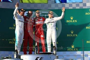 World © Octane Photographic Ltd. Formula 1 - Australian Grand Prix - Podium. Sebastian Vettel - Scuderia Ferrari SF70H, Lewis Hamilton and Valtteri Bottas - Mercedes AMG Petronas F1 W08 EQ Energy+. Albert Park Circuit. Sunday 26th March 2017. Digital Ref: 1803LB1D7888