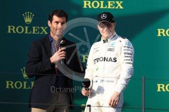 World © Octane Photographic Ltd. Formula 1 - Australian Grand Prix - Podium. Valtteri Bottas - Mercedes AMG Petronas F1 W08 EQ Energy+ and Mark Webber. Albert Park Circuit. Sunday 26th March 2017. Digital Ref: 1803LB1D8033 1803LB1D8033