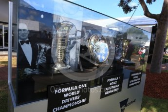 World © Octane Photographic Ltd. Formula 1 - Australian Grand Prix - Thursday - Winner Trophies on display on Melbourne Walk. Albert Park Circuit. Thursday 23rd March 2017. Digital Ref: 1789LB2D3959