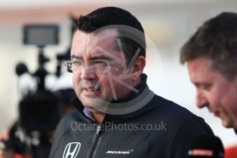 World © Octane Photographic Ltd. Formula 1 - Winter Test 2. Eric Boullier - Racing Director of McLaren Honda. Circuit de Barcelona-Catalunya. Tuesday 7th March 2017. Digital Ref: 1784CB1D1341