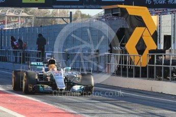 World © Octane Photographic Ltd. Formula 1 - Winter Test 2. Lewis Hamilton - Mercedes AMG Petronas F1 W08 EQ Energy+. Circuit de Barcelona-Catalunya. Tuesday 7th March 2017. Digital Ref :1784LB1D2421