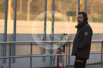 World © Octane Photographic Ltd. Formula 1 - Winter Test 2. Eric Boulier - McLaren Honda Racing Director. Circuit de Barcelona-Catalunya. Tuesday 7th March 2017. Digital Ref :1784LB1D2541