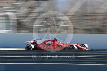 World © Octane Photographic Ltd. Formula 1 - Winter Test 2. Sebastian Vettel - Scuderia Ferrari SF70H. Circuit de Barcelona-Catalunya. Tuesday 7th March 2017. Digital Ref :1784LB1D3022
