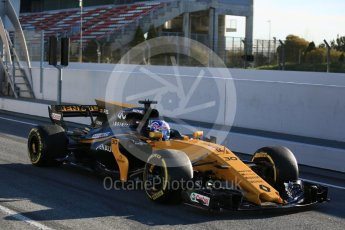 World © Octane Photographic Ltd. Formula 1 - Winter Test 2. Jolyon Palmer - Renault Sport F1 Team R.S.17. Circuit de Barcelona-Catalunya. Tuesday 7th March 2017. Digital Ref :1784LB5D9188
