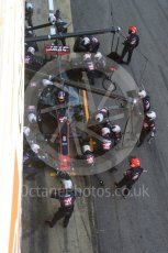 World © Octane Photographic Ltd. Formula 1 - Winter Test 2. Romain Grosjean - Haas F1 Team VF-17 and team doing a pit stop. Circuit de Barcelona-Catalunya. Friday 10th March 2017. Digital Ref: 1787LB5D0140