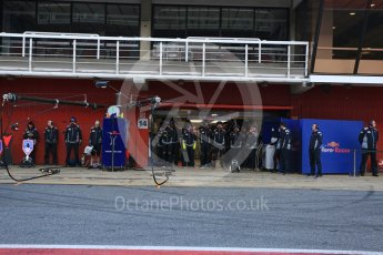 World © Octane Photographic Ltd. Formula 1 - Winter Test 2. Pit crew waiting for Carlos Sainz - Scuderia Toro Rosso STR12. Circuit de Barcelona-Catalunya. Friday 10th March 2017. Digital Ref: 1787LB5D9976