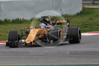World © Octane Photographic Ltd. Formula 1 - Winter Test 1. Jolyon Palmer - Renault Sport F1 Team R.S.17. Circuit de Barcelona-Catalunya. Wednesday 1st March 2017. Digital Ref :1782CB1D8034