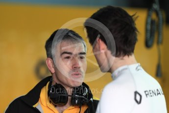 World © Octane Photographic Ltd. Formula 1 - Winter Test 1. Nick Chester – Chassis Technical Director of Renault Sport F1 Team talks with Jolyon Palmer. Circuit de Barcelona-Catalunya. Wednesday 1st March 2017. Digital Ref : 1782LB1D0058