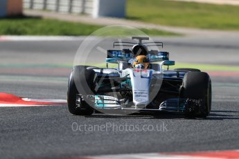 World © Octane Photographic Ltd. Formula 1 - Winter Test 1. Lewis Hamilton - Mercedes AMG Petronas F1 W08 EQ Energy+. Circuit de Barcelona-Catalunya. Wednesday 1st March 2017. Digital Ref :1782LB1D0410