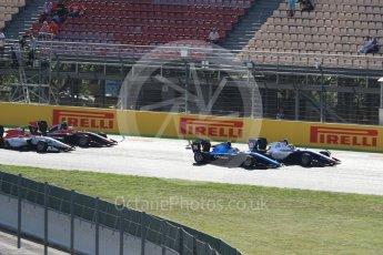 World © Octane Photographic Ltd. GP3 - Race 2. Dorian Boccolacci – Trident and Arjun Maini – Jenzer Motorsport. Circuit de Barcelona - Catalunya, Spain. Sunday 14th May 2017. Digital Ref:1821LB1D2786
