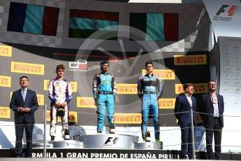 World © Octane Photographic Ltd. GP3 - Race 2. Arjun Maini (1st) – Jenzer Motorsport, Dorian Boccolacci (2nd) – Trident and Allessio Lorando (3rd) – Jenzer Motorsport. Circuit de Barcelona - Catalunya, Spain. Sunday 14th May 2017. Digital Ref:1821LB1D3113