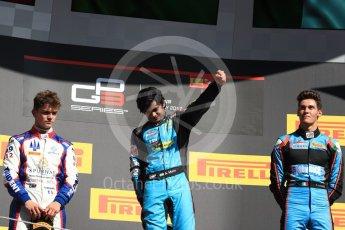 World © Octane Photographic Ltd. GP3 - Race 2. Arjun Maini (1st) – Jenzer Motorsport, Dorian Boccolacci (2nd) – Trident and Allessio Lorando (3rd) – Jenzer Motorsport. Circuit de Barcelona - Catalunya, Spain. Sunday 14th May 2017. Digital Ref:1821LB1D3119