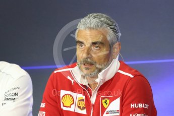 World © Octane Photographic Ltd. Formula 1 - Italian Grand Prix – Friday Team Press Conference – Part 1. Maurizio Arrivabene – Managing Director and Team Principal of Scuderia Ferrari. Monza, Italy. Friday 1st September 2017. Digital Ref: 1940LB1D2863
