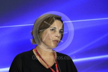 World © Octane Photographic Ltd. Formula 1 - Italian Grand Prix – Friday Team Press Conference – Part 2. Claire Williams - Deputy Team Principal of Williams Martini Racing. Monza, Italy. Friday 1st September 2017. Digital Ref: 1940LB1D3010