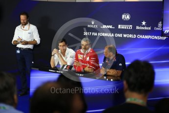 World © Octane Photographic Ltd. Formula 1 - Italian Grand Prix – Friday Team Press Conference – Part 1. Maurizio Arrivabene – Managing Director and Team Principal of Scuderia Ferrari, Frederic Vasseur – Team Principal and CEO of Sauber Motorsport AG and Toto Wolff - Executive Director & Head of Mercedes-Benz Motorsport. Monza, Italy. Friday 1st September 2017. Digital Ref: 1940LB2D8382