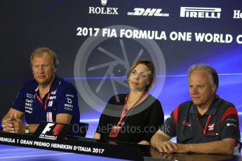 World © Octane Photographic Ltd. Formula 1 - Italian Grand Prix – Friday Team Press Conference – Part 2. Robert Fernley - Deputy Team Principal of Sahara Force India, Gene Haas - Founder and Chairman of Haas F1 Team and Claire Williams - Deputy Team Principal of Williams Martini Racing. Monza, Italy. Friday 1st September 2017. Digital Ref: 1940LB2D8408