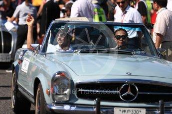 World © Octane Photographic Ltd. Formula 1 - Japanese Grand Prix - Sunday - Drivers' Parade. Sergio Perez - Sahara Force India VJM10. Suzuka Circuit, Suzuka, Japan. Sunday 8th October 2017. Digital Ref:1979LB1D0183