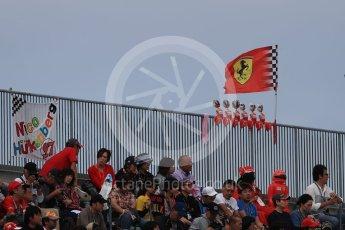 World © Octane Photographic Ltd. Formula 1 - Japanese Grand Prix - Saturday - Qualifying. Nico Hulkenberg and Ferrari fans. Suzuka Circuit, Suzuka, Japan. Saturday 7th October 2017. Digital Ref:1977LB1D9311
