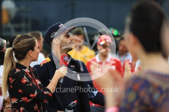 World © Octane Photographic Ltd. Formula 1 - Singapore Grand Prix - Drivers' parade. Daniel Ricciardo - Red Bull Racing RB13. Marina Bay Street Circuit, Singapore. Sunday 17th September 2017. Digital Ref: