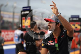 World © Octane Photographic Ltd. Formula 1 - Singapore Grand Prix - Drivers' parade. Carlos Sainz - Scuderia Toro Rosso STR12. Marina Bay Street Circuit, Singapore. Sunday 17th September 2017. Digital Ref: