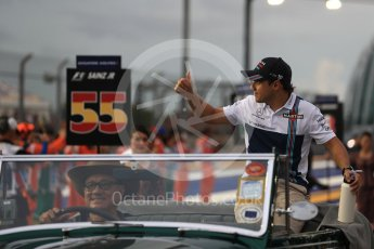 World © Octane Photographic Ltd. Formula 1 - Singapore Grand Prix - Drivers' parade. Felipe Massa - Williams Martini Racing FW40. Marina Bay Street Circuit, Singapore. Sunday 17th September 2017. Digital Ref: