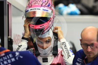 World © Octane Photographic Ltd. Formula 1 - Singapore Grand Prix - Practice 3. Sergio Perez - Sahara Force India VJM10. Marina Bay Street Circuit, Singapore. Saturday 16th September 2017. Digital Ref:1962LB1D1499