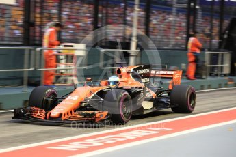 World © Octane Photographic Ltd. Formula 1 - Singapore Grand Prix - Practice 3. Fernando Alonso - McLaren Honda MCL32. Marina Bay Street Circuit, Singapore. Saturday 16th September 2017. Digital Ref:1962LB1D1791