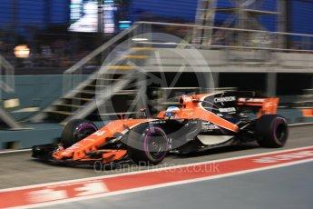 World © Octane Photographic Ltd. Formula 1 - Singapore Grand Prix - Practice 3. Fernando Alonso - McLaren Honda MCL32. Marina Bay Street Circuit, Singapore. Saturday 16th September 2017. Digital Ref:1962LB1D1810