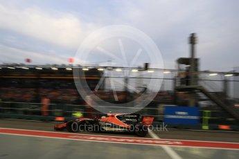 World © Octane Photographic Ltd. Formula 1 - Singapore Grand Prix - Practice 3. Stoffel Vandoorne - McLaren Honda MCL32. Marina Bay Street Circuit, Singapore. Saturday 16th September 2017. Digital Ref:1962LB2D1748