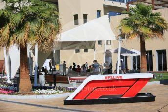 World © Octane Photographic Ltd. Formula 1 – Abu Dhabi GP - Practice 1. The Paddock with #F1Live desk. Yas Marina Circuit, Abu Dhabi. Friday 23rd November 2018.