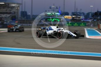 World © Octane Photographic Ltd. Formula 1 –  Abu Dhabi GP - Practice 2. Williams Martini Racing FW41 – Sergey Sirotkin and Mercedes AMG Petronas Motorsport AMG F1 W09 EQ Power+ - Valtteri Bottas. Yas Marina Circuit, Abu Dhabi. Friday 23rd November 2018.