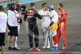 World © Octane Photographic Ltd. Formula 1 – Abu Dhabi GP - Post-race celebration. Mercedes AMG Petronas Motorsport AMG F1 W09 EQ Power+ - Lewis Hamilton, Aston Martin Red Bull Racing TAG Heuer RB14 – Max Verstappen, Scuderia Ferrari SF71-H – Sebastian Vettel and McLaren MCL33 – Fernando Alonso. Yas Marina Circuit, Abu Dhabi. Sunday 25th November 2018.