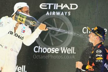 World © Octane Photographic Ltd. Formula 1 – Abu Dhabi GP - Podium. Mercedes AMG Petronas Motorsport AMG F1 W09 EQ Power+ - Lewis Hamilton and Aston Martin Red Bull Racing TAG Heuer RB14 – Max Verstappen. Yas Marina Circuit, Abu Dhabi. Sunday 25th November 2018.