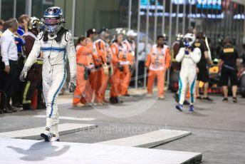 World © Octane Photographic Ltd. Formula 1 – Abu Dhabi GP - Parc Ferme. Williams Martini Racing FW41 – Sergey Sirotkin and Mercedes AMG Petronas Motorsport AMG F1 W09 EQ Power+ - Valtteri Bottas. Yas Marina Circuit, Abu Dhabi. Sunday 25th November 2018.