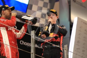 World © Octane Photographic Ltd. Formula 1 – Abu Dhabi GP - Podium. Scuderia Ferrari SF71-H – Sebastian Vettel and Aston Martin Red Bull Racing TAG Heuer RB14 – Max Verstappen. Yas Marina Circuit, Abu Dhabi. Sunday 25th November 2018.