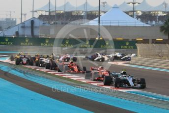 World © Octane Photographic Ltd. Formula 1 –  Abu Dhabi GP - Race. Mercedes AMG Petronas Motorsport AMG F1 W09 EQ Power+ - Lewis Hamilton and Valtteri Bottas lead out of turn 1. Yas Marina Circuit, Abu Dhabi. Sunday 25th November 2018.