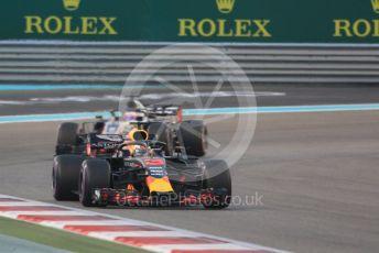 World © Octane Photographic Ltd. Formula 1 –  Abu Dhabi GP - Race. Aston Martin Red Bull Racing TAG Heuer RB14 – Daniel Ricciardo and Haas F1 Team VF-18 – Romain Grosjean. . Yas Marina Circuit, Abu Dhabi. Sunday 25th November 2018.