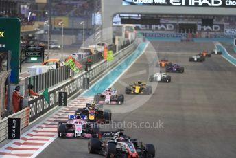 World © Octane Photographic Ltd. Formula 1 –  Abu Dhabi GP - Race. Haas F1 Team VF-18 – Romain Grosjean, Racing Point Force India VJM11 - Esteban Ocon and Aston Martin Red Bull Racing TAG Heuer RB14 – Max Verstappen. Yas Marina Circuit, Abu Dhabi. Sunday 25th November 2018.
