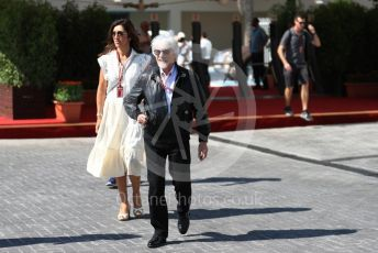 World © Octane Photographic Ltd. Formula 1 –  Abu Dhabi GP - Paddock. Bernie Ecclestone and Fabiana Flosi. Yas Marina Circuit, Abu Dhabi. Friday 23rd November 2018.